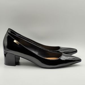 Calvin Klein black patent pointed toe pumps 7.5